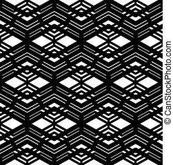 Black and white geometric art seamless pattern, vector...