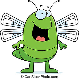 Dragonfly Smiling - A happy cartoon dragonfly standing and...