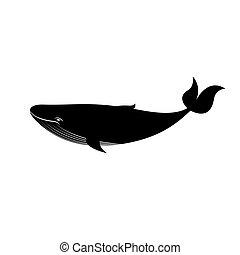 Black and white big whale, vector illustration - Black and...