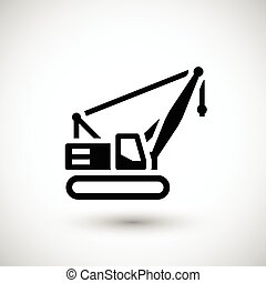 Crawler crane icon isolated on grey Vector illustration