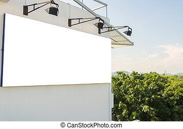 Blank billboard on the building for new advertisement