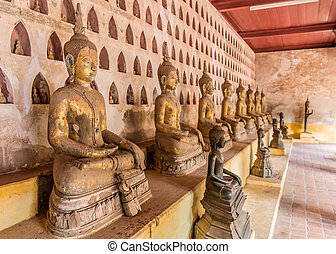 Ancient Buddha Art in wat Sisaket, Vientiane, Laos