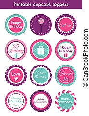 Printable cupcake toppers Vector set of round bright cupcake...