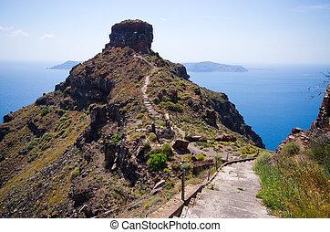 Skaros peninsula on Santorini island, Greece - Skaros...