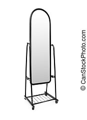 Tall mirror isolated on the white background