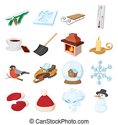 Winter icons icons set, cartoon style - Winter icons icons...