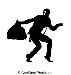 Robber silhouette black isolated on white background
