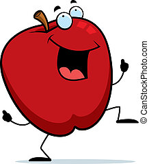 Apple Dancing - A happy cartoon apple dancing and smiling.