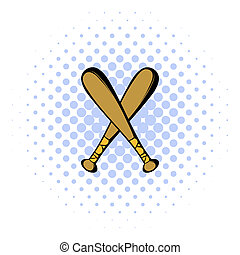 Two crossed baseball bats icon, comics style - Two crossed...