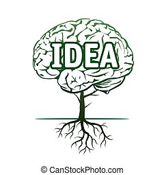Vector Illustration of human brain and tree.