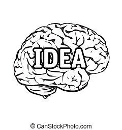 Vector Illustration of human brain. Text Idea