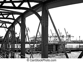 Hamburg harbor - View through the bridge of Hamburg...
