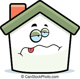 Home Sick - A cartoon house with a sick expression.