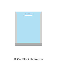 Blank white plastic bag icon in flat style isolated on white...