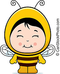 Bee Girl - A happy cartoon child dressed in a bee costume.