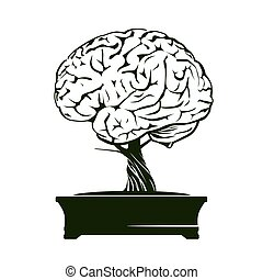 Vector Illustration of human brain and bonsai tree.