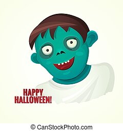 Cute green smiling zombie man, vector illustration - Cute...