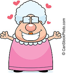 Grandma Hug - A happy cartoon grandma ready to give a hug.