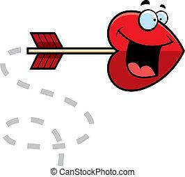 Heart Arrow - A cartoon heart shaped arrow happy and smiling...