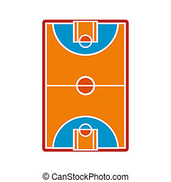 Basketball court field icon in flat style isolated on white...