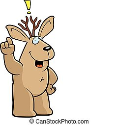 Jackalope Idea - A happy cartoon jackalope with an idea