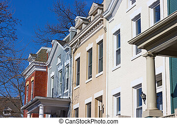 Brick townhouses of Washington DC