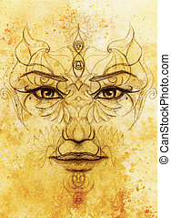 mystic woman face with floral ornament. Drawing on paper, Color effect. Eye contact.