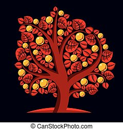 Tree with ripe apples, harvest season theme illustration....