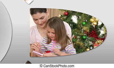 Cheerful families at Christmas - Montage of cheerful...
