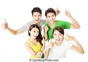 top view of happy young group  with thumbs up