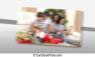 Loving families at Christmas time - Montage of loving...