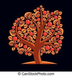 Tree with ripe apples, harvest season theme illustration...