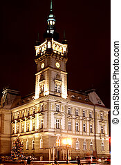 Town hall in Bielsko-Biala,Poland by night.