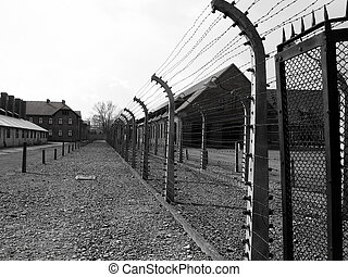 Auschwitz - Barbed Wire Fence, at concentration camp of...