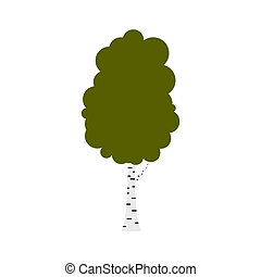 Birch tree icon, flat style - Birch tree icon in flat style...