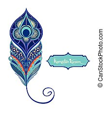 Decorative peacock feather - Vector isolated peacock...