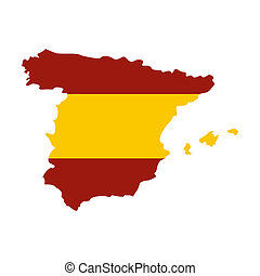 Map of Spain in Spanish flag colors icon in flat style...