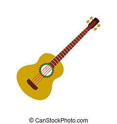 Acoustic guitar icon, flat style - Acoustic guitar icon in...