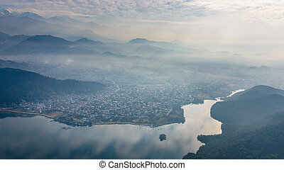 Pokhara aerial view in Nepal