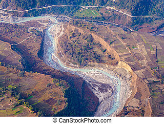 River aerial view in Nepal - River aerial view in the...