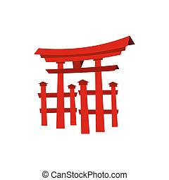 Floating Torii gate, Japan icon, flat style - Floating Torii...