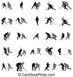 Players in hockey on the grass silhouette set on a white...