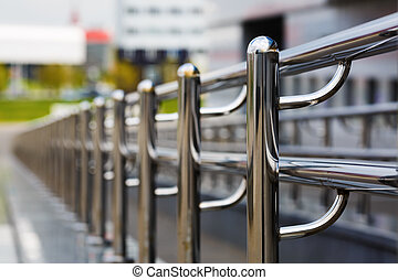 Chromium metal railings - Chromium metal fence with handrail...