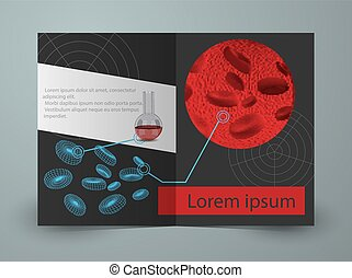 Brochure for blood research laboratory. Vector template
