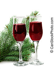 glasses with red wine isolated