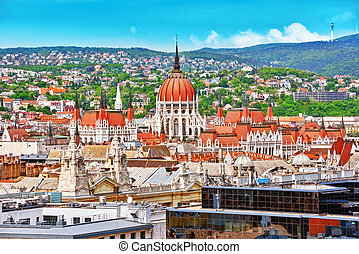 View of Budapest and Parliament from Bell Tower of St...