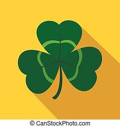 Green shamrock, three leaf clover icon, flat style - Green...