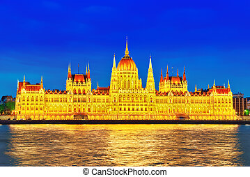 Hungarian Parliament at evening Budapest One of the most...