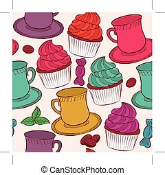 Seamless background with cake and tea coffe cup
