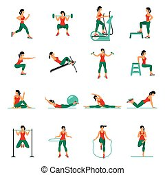Aerobic icons 4x4 full color - Fitness, Aerobic and workout...